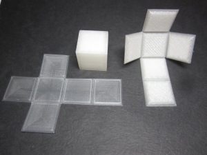 3D printed foldable cube.