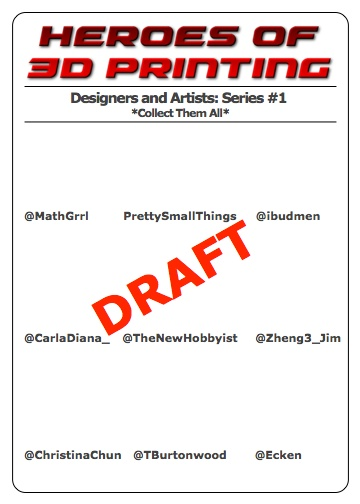 Mockup of Series #1 for the Gumball Gallery: Seriously not trying to put these folks on the spot just drafting an idea for the first series.
